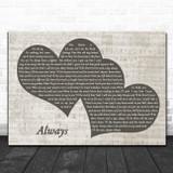 Bon Jovi Always Landscape Music Script Two Hearts Song Lyric Music Art Print