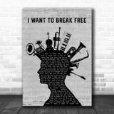 Queen I Want To Break Free Musical Instrument Mohawk Song Lyric Music Art Print