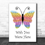 Pink Floyd Wish You Were Here Rainbow Butterfly Song Lyric Music Art Print