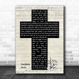 R.E.M. Everybody Hurts Music Script Christian Memorial Cross Song Lyric Music Art Print