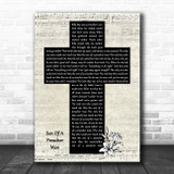 Aretha Franklin Son Of A Preacher Man Music Script Christian Memorial Cross Song Lyric Music Art Print