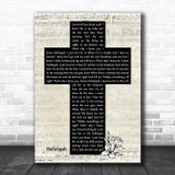 Ray Charles Hallelujah Music Script Christian Memorial Cross Song Lyric Music Art Print