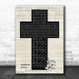 Depeche Mode Blasphemous Rumours Music Script Christian Memorial Cross Song Lyric Music Art Print