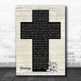 Laura Story Blessings Music Script Christian Memorial Cross Song Lyric Music Art Print