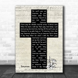 Quvenzhané Wallis Tomorrow Music Script Christian Memorial Cross Song Lyric Music Art Print