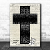 Billy Joel Goodnight Saigon Music Script Christian Memorial Cross Song Lyric Music Art Print