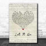 Paul McCartney Let It Be Script Heart Song Lyric Music Art Print