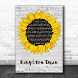 UB40 Kingston Town Grey Script Sunflower Song Lyric Music Art Print
