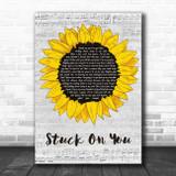Lionel Richie Stuck On You Grey Script Sunflower Song Lyric Music Art Print