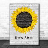 Lady Antebellum Never Alone Grey Script Sunflower Song Lyric Music Art Print
