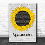 Savage Garden Affirmation Grey Script Sunflower Song Lyric Music Art Print
