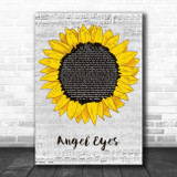 ABBA Angel Eyes Grey Script Sunflower Song Lyric Music Art Print