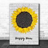 The Housemartins Happy Hour Grey Script Sunflower Song Lyric Music Art Print