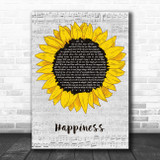 Rex Orange County Happiness Grey Script Sunflower Song Lyric Music Art Print