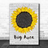 Then Jerico Big Area Grey Script Sunflower Song Lyric Music Art Print