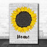 Edward Sharpe & The Magnetic Zeros Home Grey Script Sunflower Song Lyric Music Art Print