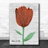Enya May It Be Grey Script Watercolour Tulip Song Lyric Music Art Print