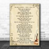The White Buffalo Wish It Was True Vintage Guitar Song Lyric Music Art Print
