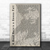 Bob Dylan A Hard Rain's a Gonna Fall Shadow Song Lyric Music Wall Art Print