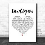 Taylor Swift Cardigan White Heart Song Lyric Music Art Print