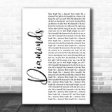 Rihanna Diamonds White Script Song Lyric Music Art Print