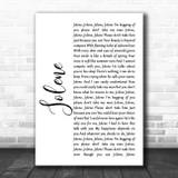 Dolly Parton Jolene White Script Song Lyric Music Art Print