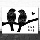 Grateful Dead Bird Song Lovebirds Black & White Song Lyric Art Print