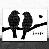 Sixx A.M. Smile Lovebirds Black & White Song Lyric Art Print