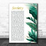 Eddie Vedder Society Gold Green Botanical Leaves Side Script Song Lyric Art Print
