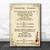 Fleetwood Mac Everywhere Song Lyric Vintage Music Wall Art Print