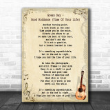 Green Day Good Riddance (Time Of Your Life) Song Lyric Vintage Music Wall Art Print