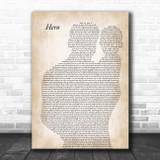 Enrique Iglesias Hero Father & Baby Song Lyric Art Print