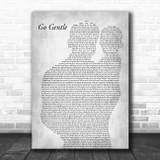 Robbie Williams Go Gentle Father & Baby Grey Song Lyric Art Print