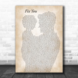 Coldplay Fix You Father & Child Song Lyric Art Print