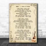 ABBA I Have A Dream Song Lyric Vintage Music Wall Art Print