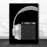 Rob Base and DJ E-Z Rock It Takes Two Grey Headphones Song Lyric Art Print