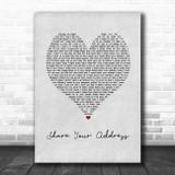 Ben Platt Share Your Address Grey Heart Song Lyric Art Print