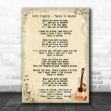 Eric Clapton Tears In Heaven Song Lyric Vintage Music Wall Art Print