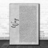 Cardi B WAP Grey Rustic Script Song Lyric Art Print