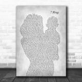 Ariana Grande 7 Rings Mother & Baby Grey Song Lyric Art Print