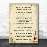 Andy Williams Moon River Song Lyric Music Wall Art Print