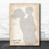 Guns N Roses Sweet Child O' Mine Mother & Child Song Lyric Art Print