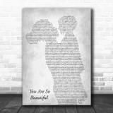 Joe Cocker You Are So Beautiful Mother & Child Grey Song Lyric Art Print
