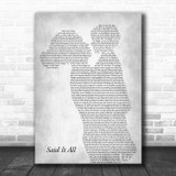 Take That Said It All Mother & Child Grey Song Lyric Art Print