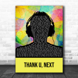 Ariana Grande (Clean Version) Thank U, Next Multicolour Man Headphones Song Lyric Art Print