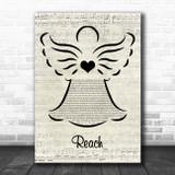S Club 7 Reach Music Script Angel Song Lyric Art Print