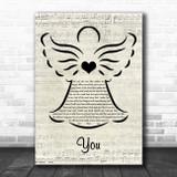 The Carpenters You Music Script Angel Song Lyric Art Print