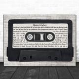 Jamiroquai Space Cowboy Music Script Cassette Tape Song Lyric Art Print