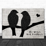 Guy Mitchell She Wears Red Feathers Lovebirds Music Script Song Lyric Art Print