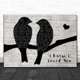 Savage Garden I Knew I Loved You Lovebirds Music Script Song Lyric Art Print